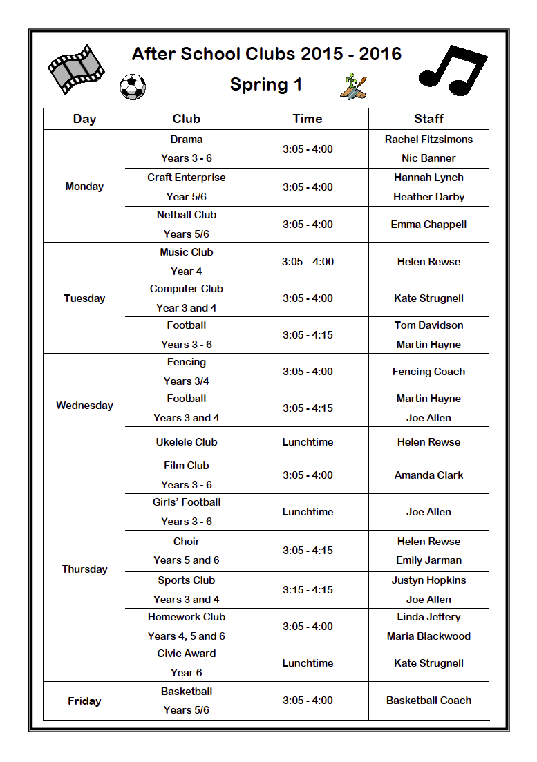Junior clubs spring 1